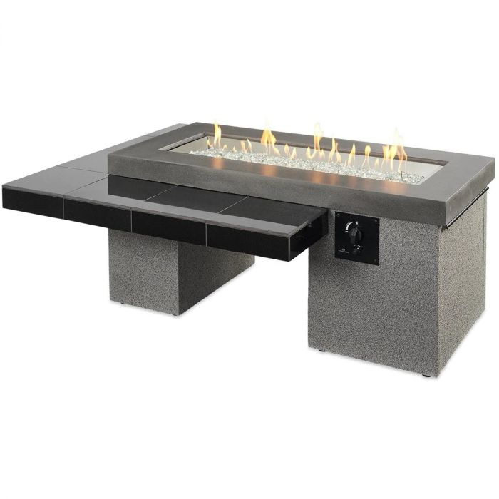 The Outdoor Greatroom Company Uptown 64 Inch Linear Gas Fire Pit Table With 42 Inch Crystal Fire Burner Black Upt 1242 Barbeques Galore