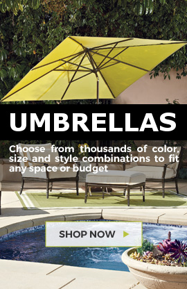 Huge selection of umbrellas at Barbeques Galore